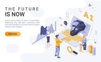 il futuro è ora una pagina di destinazione isometrica vettore