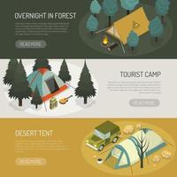 set di banner modello tenda da campeggio vettore