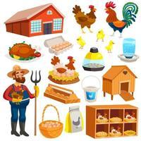 set di icone di allevamento di pollame vettore
