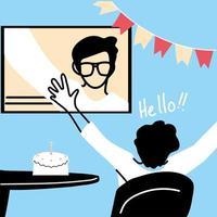 uomo e schermo nel disegno vettoriale di chat video