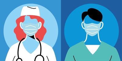 medici di sesso femminile e maschile con maschere e uniformi