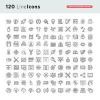 set di icone di linea per la progettazione grafica, web design, sviluppo vettore