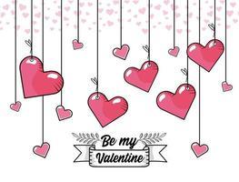 disegno di cuori appesi di San Valentino