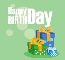carta di buon compleanno con scatole regalo vettore