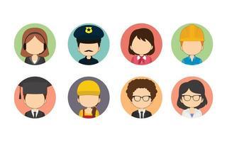 set di varietà di avatar cerchio piatto lavoratori vettore