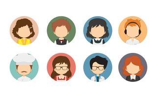 grande varietà di avatar a cerchio piatto di lavoratori vettore