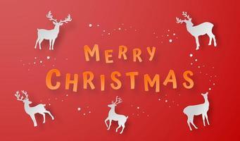 modello di cartolina di Natale con le renne vettore