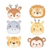 set di teste di animali simpatico cartone animato