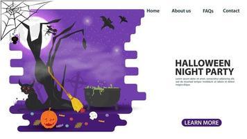dsign della pagina web del calderone della strega e dell'albero di Halloween