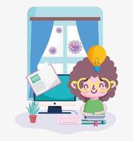 istruzione in linea, ragazzo in camera con computer e libri