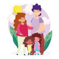 madre, padre e figlie all'aperto vettore