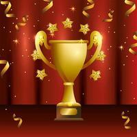 design celebrazione del premio con coppa d'oro