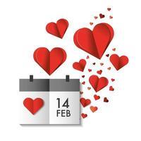 cuori di carta e calendario per la celebrazione di San Valentino vettore