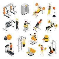 set di persone isometriche di fitness palestra vettore