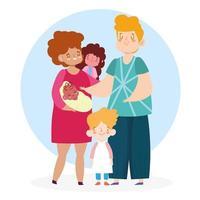 madre, padre e figli insieme vettore
