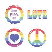 felice giorno dell'orgoglio, set di badge della comunità arcobaleno lgbt vettore