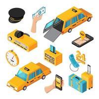 icone isometriche di servizio taxi vettore
