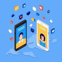 poster di social media day con personaggi sullo smartphone vettore