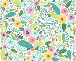 motivo floreale in stile doodle con fiori e foglie vettore