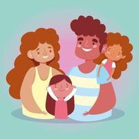 madre, padre e figlie per la celebrazione del giorno della famiglia vettore