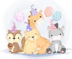 simpatici animaletti selvatici con cappelli di compleanno