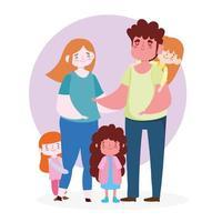 madre, padre e figlie insieme vettore