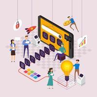 team che lavora alla creazione di applicazioni su dispositivi mobili vettore