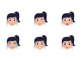 testa di ragazza carina con diverse espressioni facciali vettore