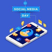 poster di social media day con icone sullo smartphone vettore