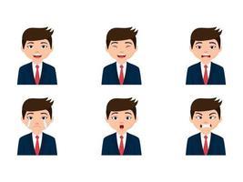 uomo d'affari carino con diverse espressioni facciali vettore