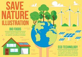 Salvare l'illustrazione vettoriale di natura