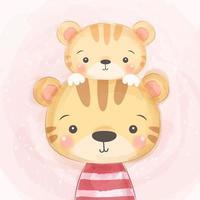 cute baby tiger con genitore vettore
