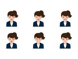 carino donna d'affari con diverse espressioni facciali vettore