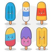 set di simpatici personaggi di gelato e ghiaccioli