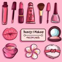 pacchetto di elementi per la cura della pelle e la bellezza vettore