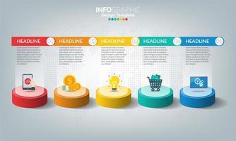 modello di infografica timeline con 5 elementi
