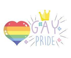 felice giorno dell'orgoglio, cuore arcobaleno e corona con disegno di testo vettore