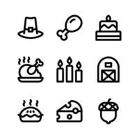 icone della linea del ringraziamento tra cui cappello da pellegrino, torta e altro