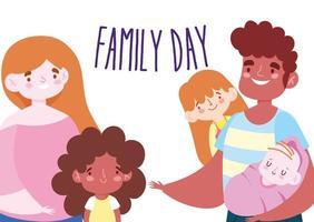 madre, padre e figli per la festa della famiglia vettore