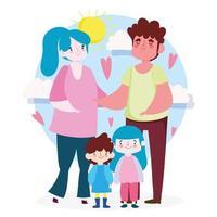 madre, padre e figli con le nuvole