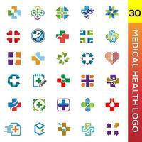 raccolta di logo di salute medica e ospedale vettore