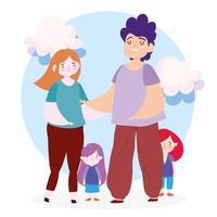 madre, padre e figlie con le nuvole vettore