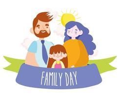 madre, padre e figlia per la festa della famiglia vettore