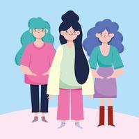 gruppo di giovani donne alla moda vettore