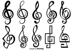 Icone di vettore chiave di violino