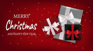 biglietto di auguri di Natale e Capodanno con scatole regalo vettore