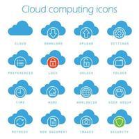 set di icone di cloud computing vettore
