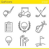 set di icone lineare di attrezzature da golf vettore