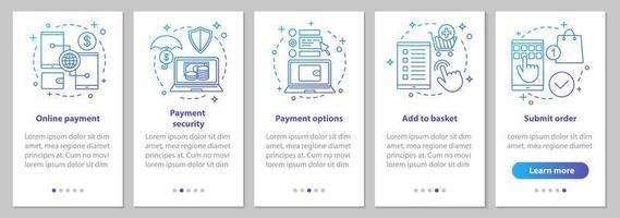 schermate della pagina dell'app mobile per lo shopping online