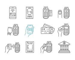 set di icone lineari di pagamento nfc vettore